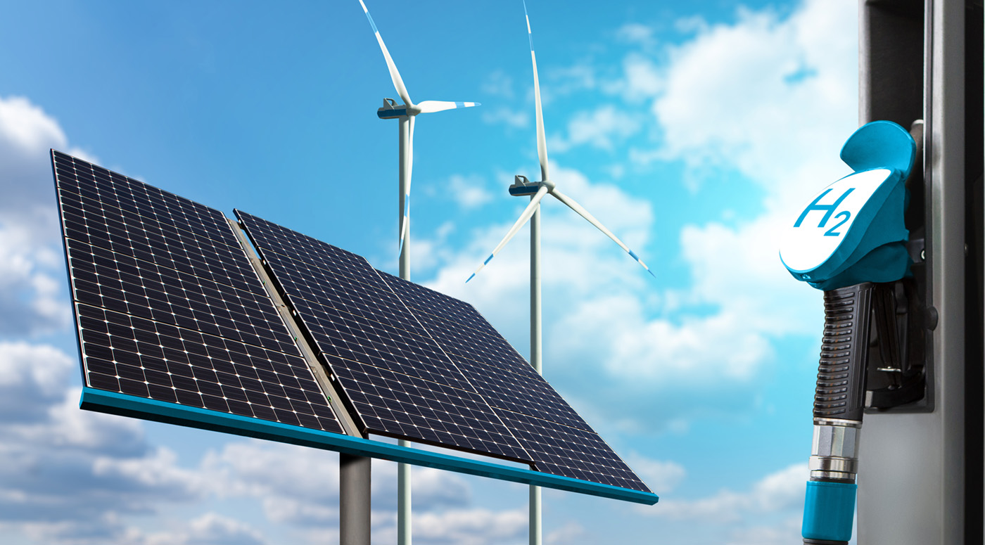 Hydrogen gas station with wind turbines and solar panels in the