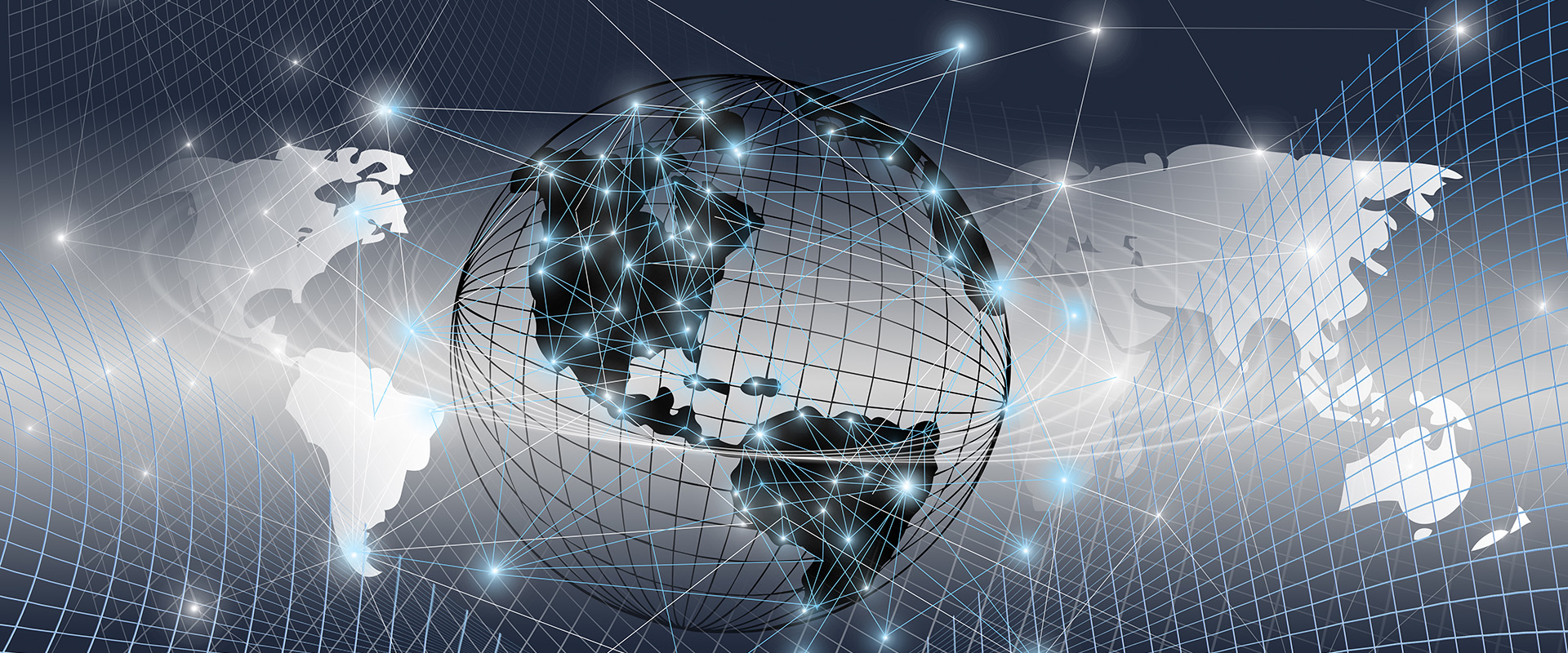 the global world with digital links and glowing connections