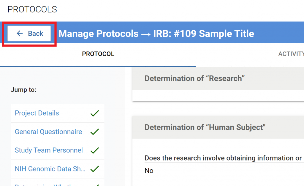 """back button, from protocol to """"Manage Protocols"""" page"""